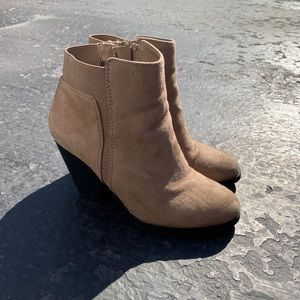 MIX NO. 6 | Taupe Acosa Ankle Booties with Heel